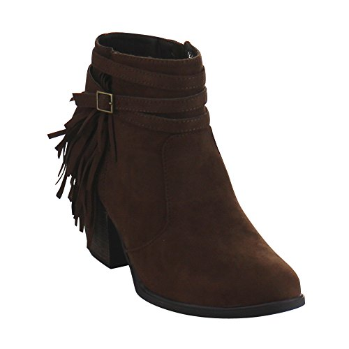 DOLLHOUSE DEMEANOR Womens Fringe Buckle Strap Accent Chunky Heel Ankle Booties