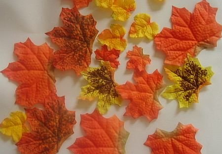 50 Artificial Fall Maple Leaves in Varied Colors (639277537911)