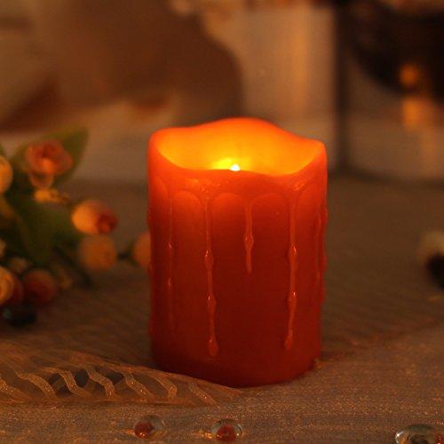 Home Impressions - Candela senza fiamma, a LED, con Timer, cera, Rosso, 76X102 mm