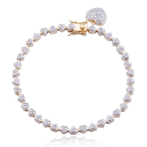18k Yellow Gold Plated Sterling Silver Genuine Diamond Accent Heart Charm Bracelet, 7.25