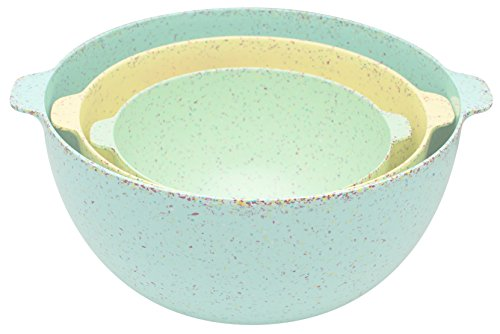 Zak Designs Sprinkles Nested Mixing Bowls (Set of 3), BPA-Free Melamine, Aqua (Zak Designs Mixing Bowls compare prices)
