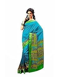 First Loot Designer Raw Silk Blue Saree -2374