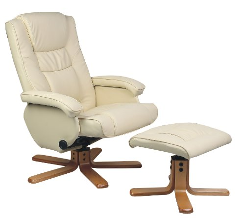 Birlea Nevada Faux-Leather Swivel Chair With Footstool, Cream