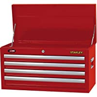 Stanley 4 Drawer Tool Box Chest Toolbox Cabinet Mechanics Storage Garage (Red )
