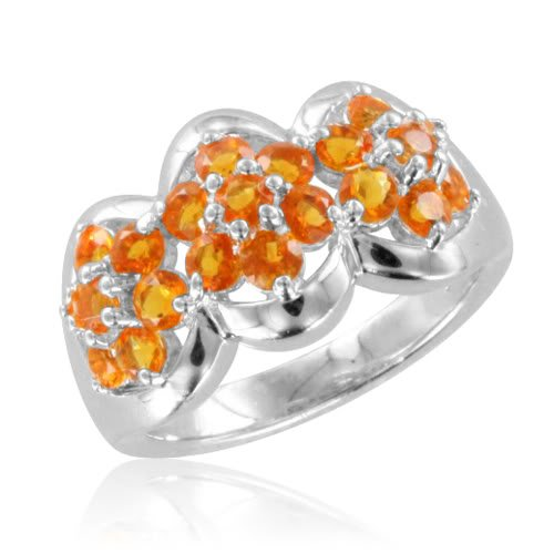 Natural Fire Opal Flower Ring in Sterling Silver - 0.95 cttw