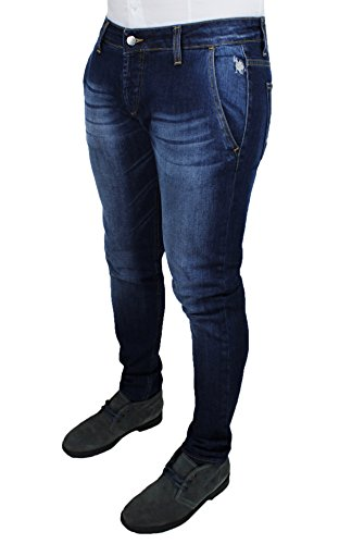 Jeans uomo Usa Polo sport pantaloni blu scuro denim casual slim fit 100% cotone (48)