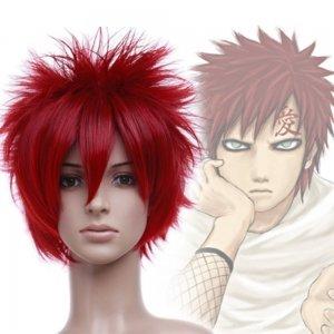 Naruto Sabakuno Gaara Short Cosplay Wig Wine Red