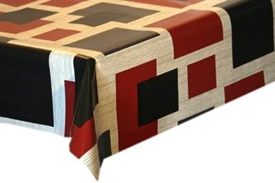 Wachstuch Tischdecke Vierecke grau-rot in Wunschl�nge von Mein-Haushalt24 - Gartenmöbel von Du und Dein Garten