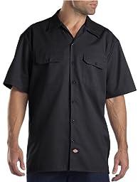 Dickies Men\'s Short Sleeve Work Shirt, Black, 2X Large