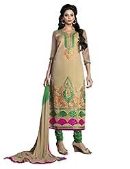 Prafful Beige Chanderi Cotton Embroidered Unstitched Dress Material
