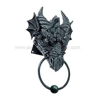 Ancient Medieval Fantasy Cool Horned Dragon Head Resin Door Knocker Home Decor