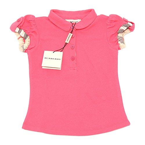 6727G polo bimba fucsia BURBERRY check cotone manica corta maglia t-shirt kids [12 MONTHS]