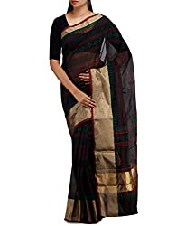 Unnati Silks Women Black-maroon Supernet saree