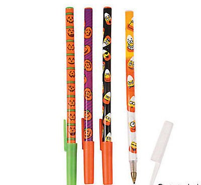24 Pumpkin & Candy Corn Stick Pens HAUNTED HOUSE Halloween Party Coven Favor (Haunted House Ideas For Halloween Party)