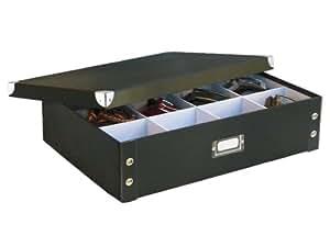 Zeller 17789 Boite de Rangement en carton pour cravates et ceintures noir, 44,5 x 31,5 x 11 cm