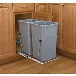 Rev-A-Shelf RV-18KD-17C S Double 35 Qt. Pullout Waste Container - Silver by Pullout Trash System