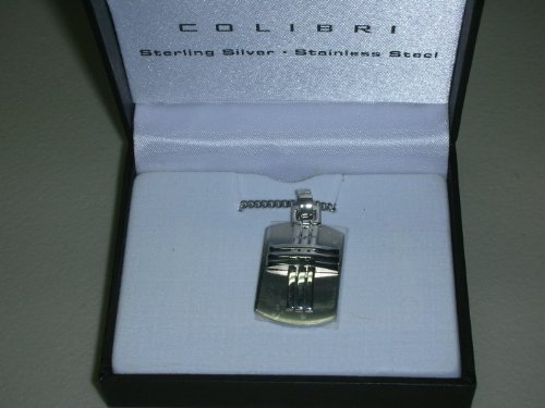 Colibri Mens Stainless Steel Lattice Cross Pendant with Chain