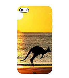 HOPPING KANGROO ON A BEACH AT SUN SET 3D Hard Polycarbonate Designer Back Case Cover for Apple iPhone 4S