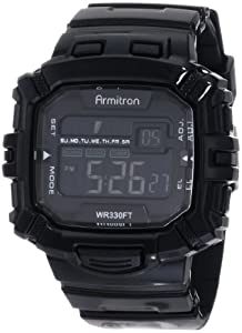 Armitron Men's 40/8244BLK Black Rectangle Chronograph Digital Sport Watch