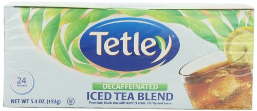 Tetley Naturally Decaffeinated Iced Tea Blend, Family Size, 24-Count Round Tea Bags (Pack Of 6)