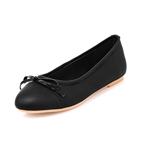 Vogue001 Womens Closed Round Toe Dermis Soft Material Solid Flats with Bowknot