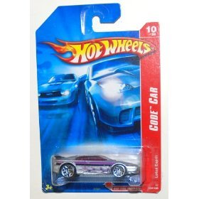 2007 Hot Wheels Code Car, Lotus Esprit, Silver with Purple Flames, 10 of 24, 094/180 (1 Each) - 1
