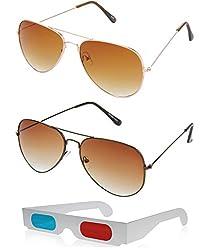Hrinkar Aviator Brown Lens Gold Frame, Aviator Brown Lens Brown Frame & Paper 3D Glass - HCMB015