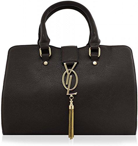 kukubird-gold-drape-faux-leather-designer-tote-handbag-dark-grey
