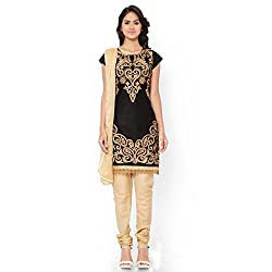 Aastha Creation Black Cotton Embroidered Dress materials