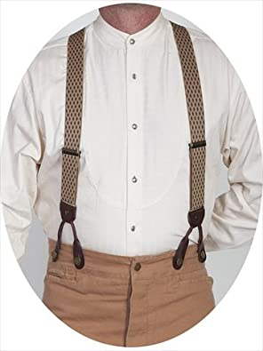 Victorian Men's Accessories – Suspenders, Gloves, Cane, Pocket Watch, Spats Mens Diamond Print Suspender - Beige One Size $33.93 AT vintagedancer.com