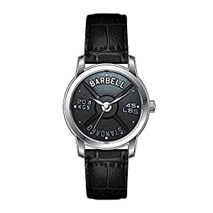 AMS Christmas Gift Watch Women's Vintage Design Leather Black Band Wrist Watch Barbell Plate Wrist Watch