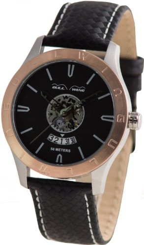 GULL-WING Men`s German Rose Gold Iconic FL2678-SRE-LBL Open Heart Skeleton Quartz Movement Racing Watch with Carbon Look Leather Strap