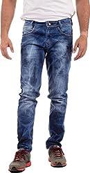 SagarPriya Men's Slim Fit Jeans (SP0007, Dark Blue, 36)