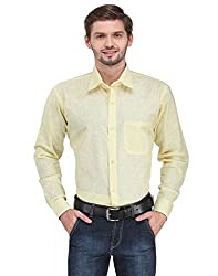 Ausy Full Sleeve Yellow Mens Formal Shirt