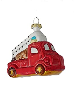 #!Cheap Barcana 3-Inch Shatterproof Red Fire Truck, Christmas Ornaments, Set of 4