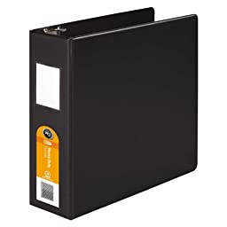 Wilson Jones Heavy Duty Round Ring Binder with Extra Durable Hinge, 3-Inch, Black (W364-49NB)