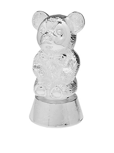 Elegant Baby Muscial Bear Bank, Silver
