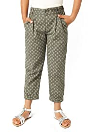 Pure Cotton Adjustable Waist Floral & Spotted Bow Chinos [T77-5994V-Z]