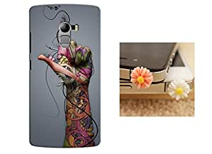 Designer 3D Printed Back Case Grip Cover for Lenovo K4 Note + One Cool 3.5 mm Jack Anti Dust Plug