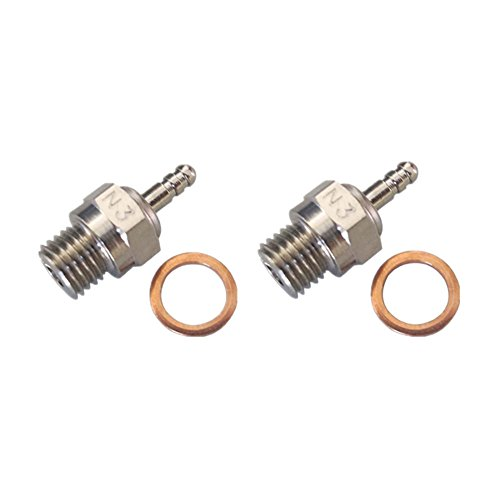 2pcs 70117 Duty Glow Plug #3 N3 Hot Spark Nitro Engine Parts Replace OS 8 For Traxxas Kyosho HSP HPI Redcat 1/8 1:10th RC Car Truck Buggy (Glow Plugs Rc compare prices)