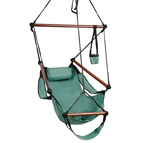 NEW nags head hammocks Hammock Hanging Chair Air Deluxe Sky Swing Outdoor Chair Solid Wood 250lb Green (Tie Dye Tarp compare prices)