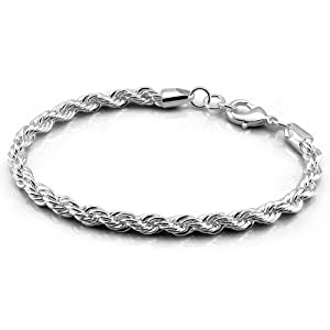 Platinum Plated 925 Sterling Silver Twisted Chain Bracelet 5mm 8