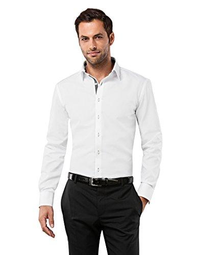 VB -  Camicia classiche  - Basic - Classico  - Maniche lunghe  - Uomo blanc/anthracite Large