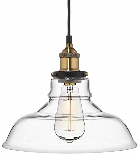 Deneve Clear Glass Shade Pendant Light Brass Ceiling Fixture (Plug In Bathroom Fan compare prices)