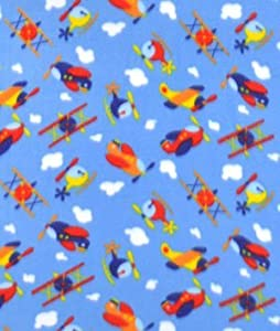 Sky blue airplane fleece fabric by the yard for Airplane fabric by the yard