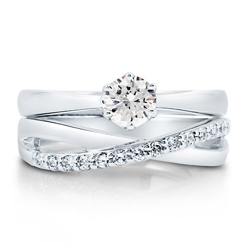 Cubic Zirconia CZ Sterling Silver 2-Pc Woven Bridal Ring Set 0.46 Ct - Nickel Free Engagement Wedding Ring Set Size 4