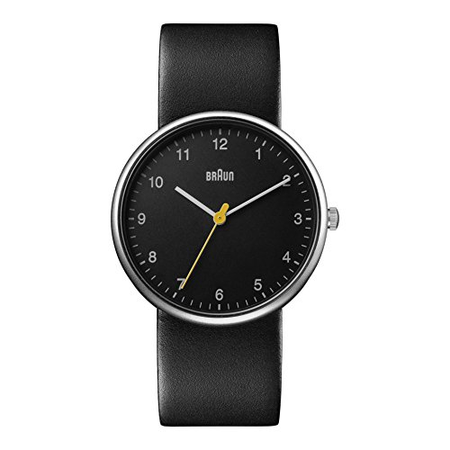 Braun Men's Quartz Watch with Black Dial Analogue Display and Black Leather Bracelet BN0231BKBKGAL