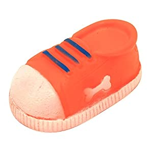 Plastic Dog Chew Toy Accessory Squeaker Sound shoe Sneaker Durable Orange by PetBuddyMart
