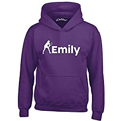 iClobber Tennis Hoodie for Girls Kids Personalised with Your Name or Club Name Design