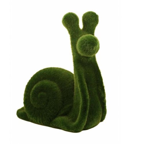 Streamline Grass Flocked Coin Bank - Snail